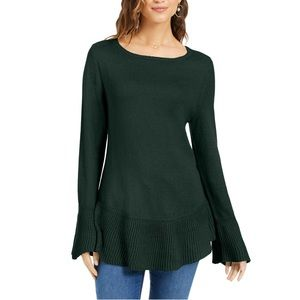 Style & Co Ribbed Hemline Ruffle Pullover Sweater